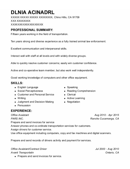 Office Assistant resume format California
