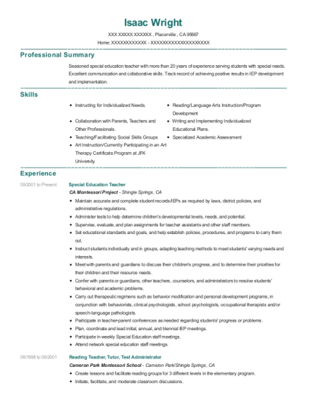 Special Education Teacher resume template California