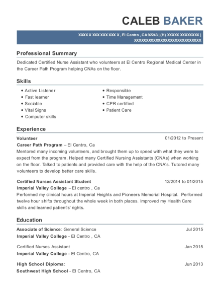 Volunteer resume template California