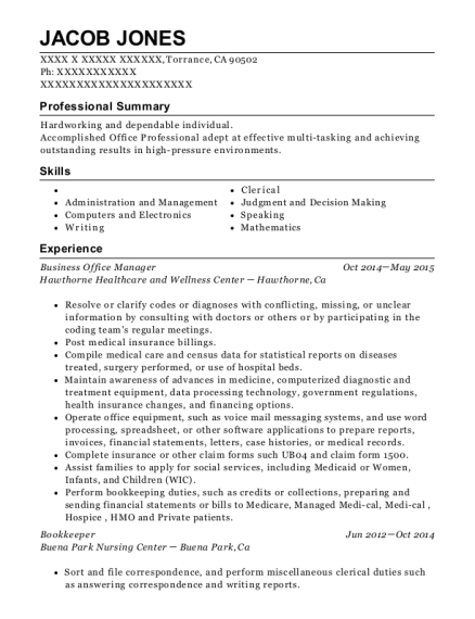 Business Office Manager resume format California