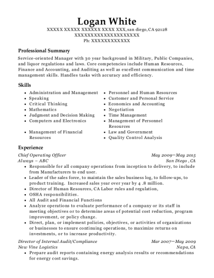 Chief Operating Officer resume format California