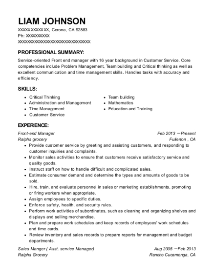 Front end Manager resume format California