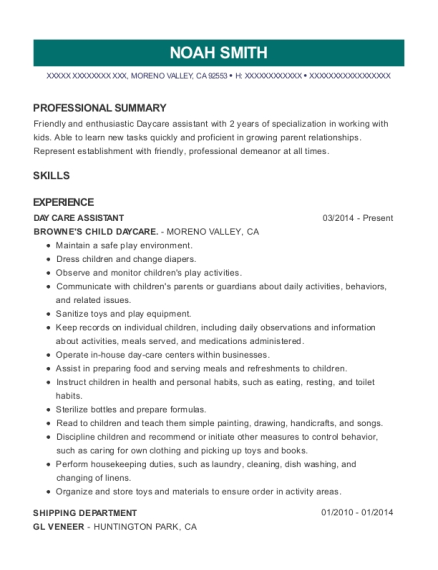 DAY CARE ASSISTANT resume example California