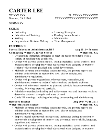 Special Education Administrator resume example California