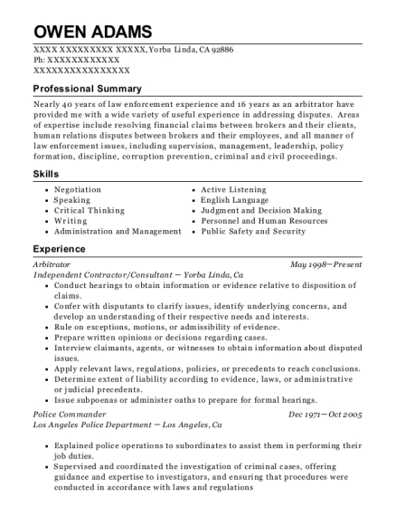 Federal Mediation And Conciliation Service Arbitrator Resume Sample