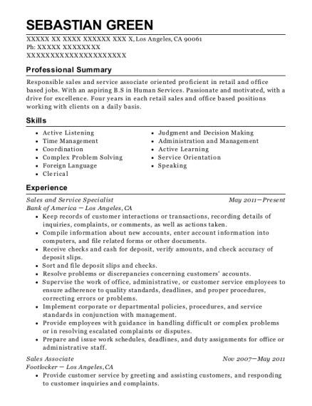 Sales and Service Specialist resume example California