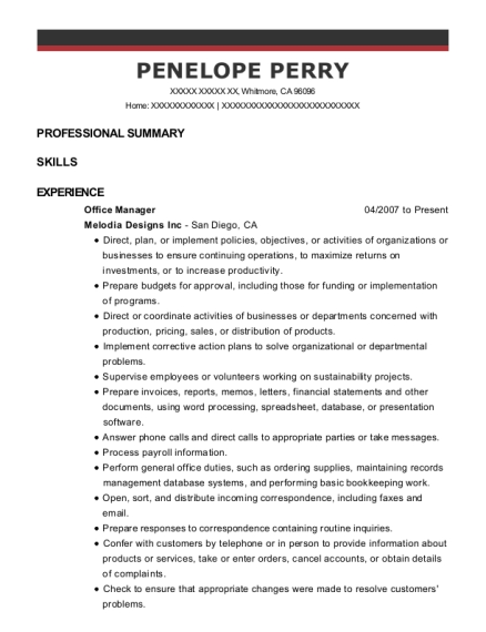 Office Manager resume format California