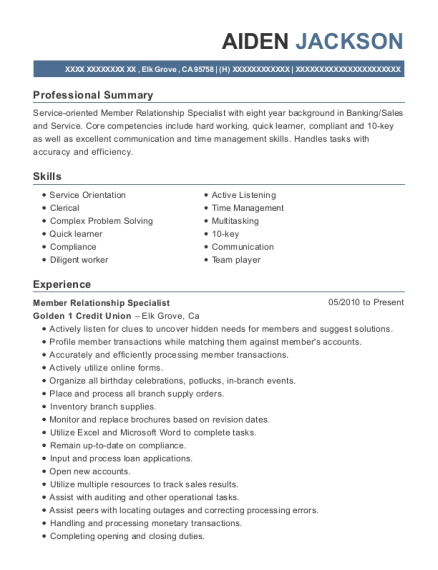 Member Relationship Specialist resume template California