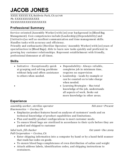 assembly worker resume example California