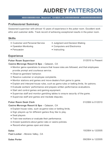 Poker Room Supervisor resume example California