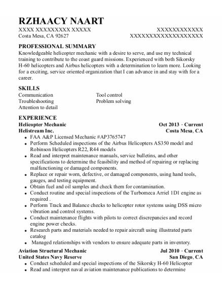 Helicopter Mechanic resume format California