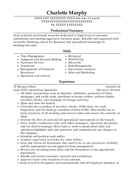 Lead Teller Operations Specialist resume template California