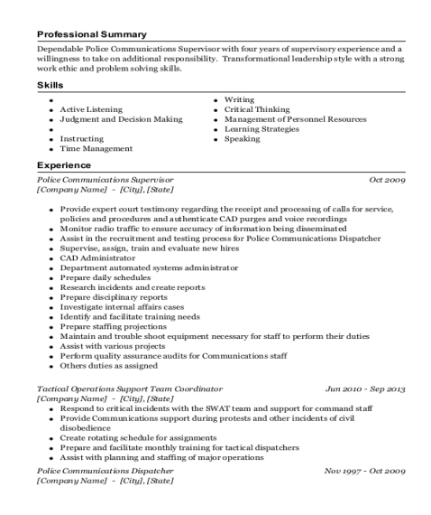 Police Communications Supervisor resume sample California