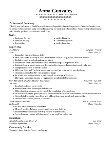 Food Clerk resume format California