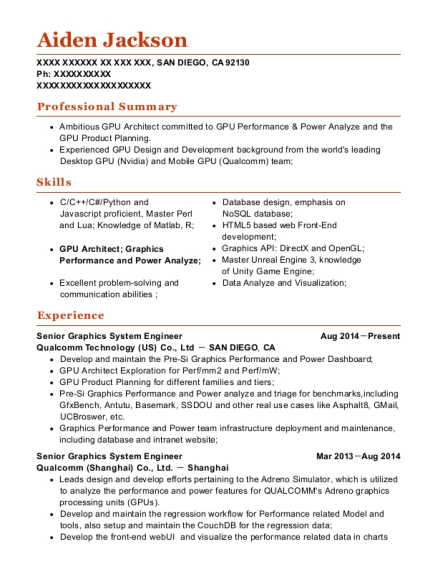 Senior Graphics System Engineer resume format California