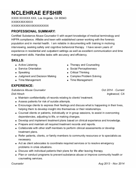 Substance Abuse Counselor resume example California