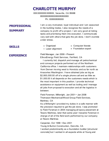 Field Manager resume format California