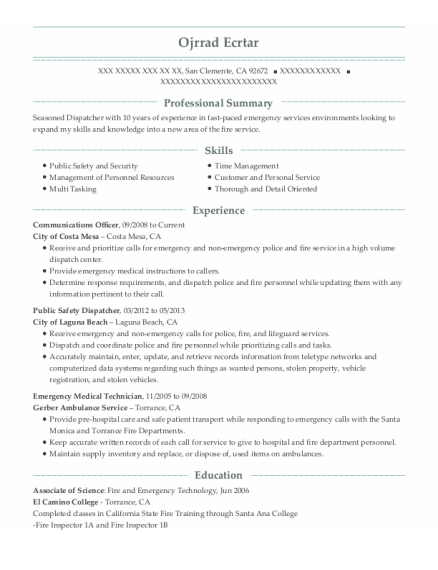 Communications Officer resume format California