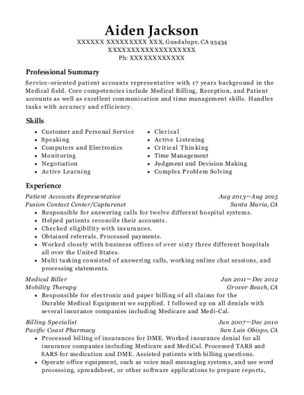 Patient Accounts Representative resume example California