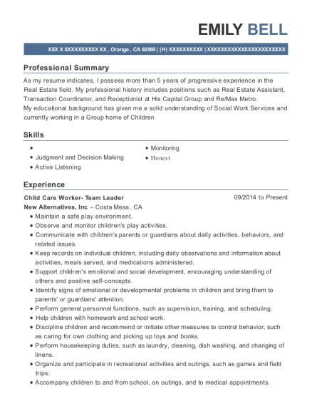 Child Care Worker Team Leader resume template California