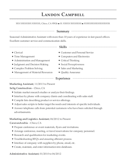 Marketing Assistant resume template California