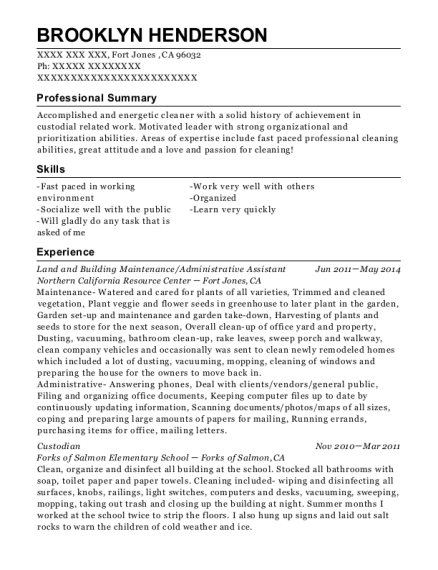 Land and Building Maintenance resume format California