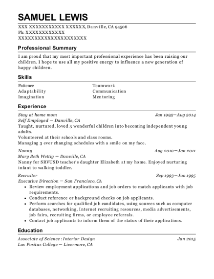 Stay at home mom resume template California