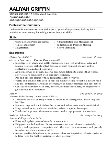 Claims Specialist II resume template California