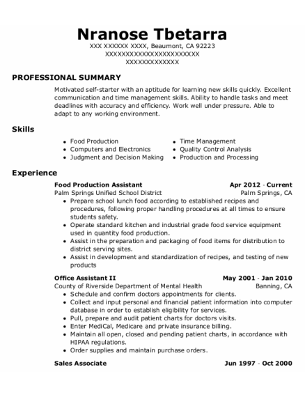 Office Assistant Ii resume format California