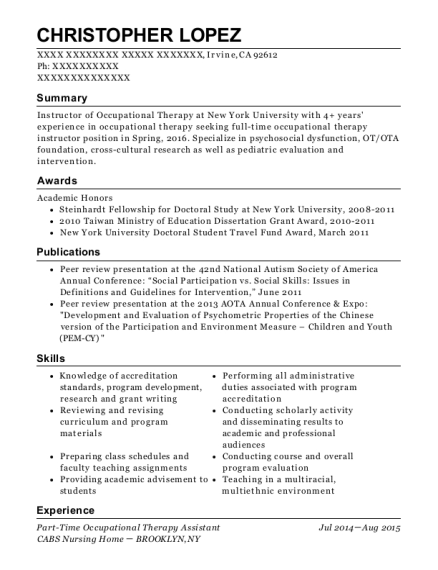 Cabs Nursing Home Part Time Occupational Therapy Assistant Resume