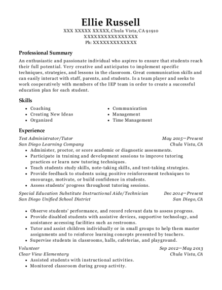 Test Administrator resume format California