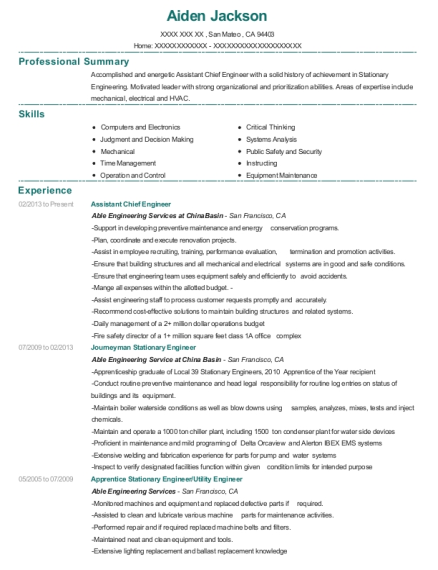Assistant Chief Engineer resume template California