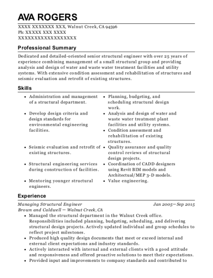 Brown And Caldwell Managing Structural Engineer Resume Sample