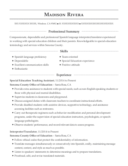 Special Education Teaching Assistant resume template California