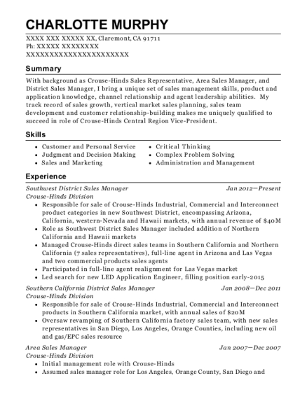 Southwest District Sales Manager resume template California