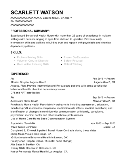 RN resume template California