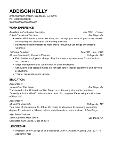 Assistant to Purchasing Executive resume sample California
