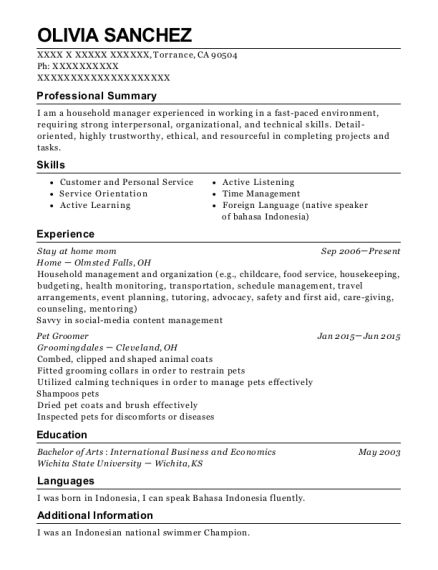 Stay at home mom resume example California