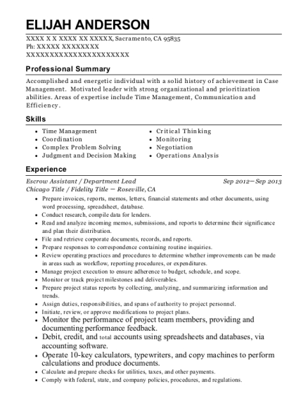Escrow Assistant resume example California