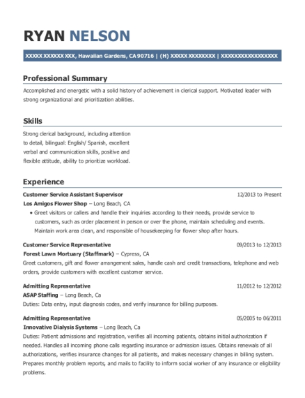 Customer Service Assistant Supervisor resume example California
