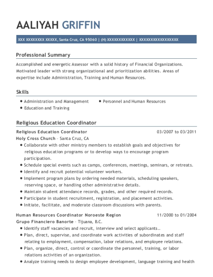 Religious Education Coordinator resume example California