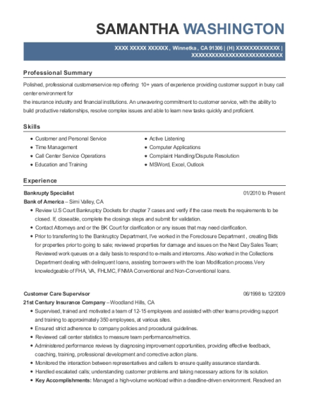 Bankrupty Specialist resume template California