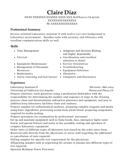 Laboratory Assistant ll resume template California