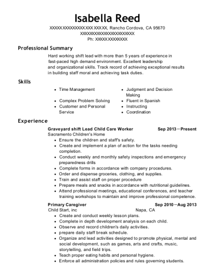 Graveyard shift Lead Child Care Worker resume sample California