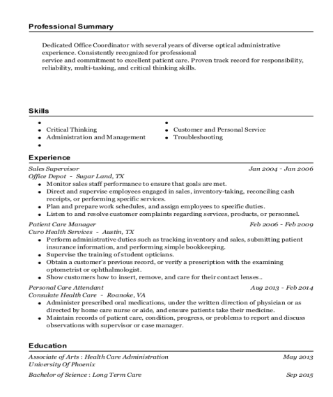 Sales Supervisor resume sample California