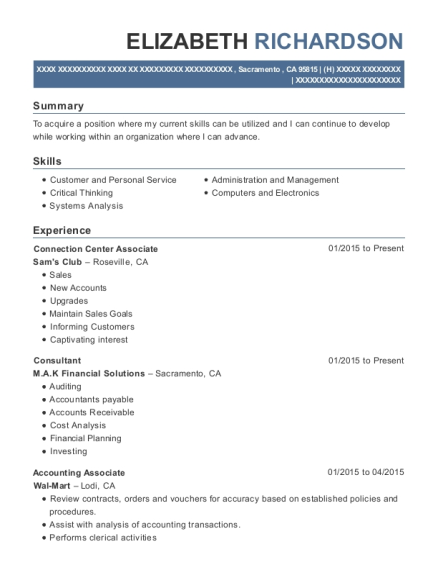 Connection Center Associate resume example California