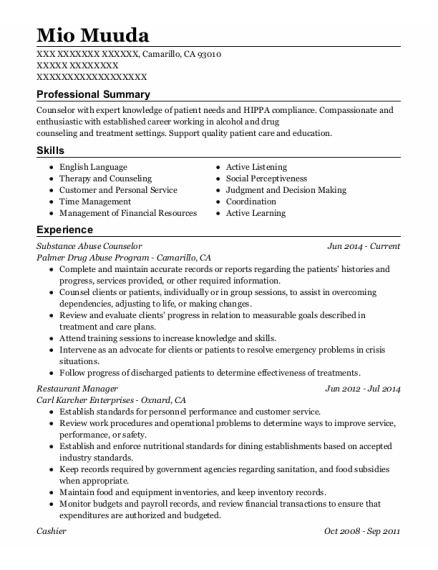 Substance Abuse Counselor resume sample California