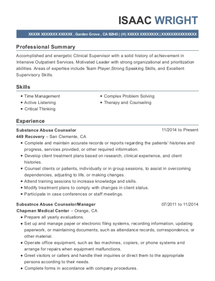 Substance Abuse Counselor resume format California