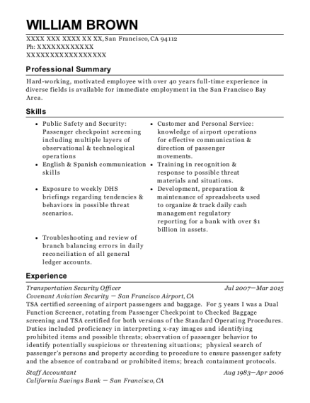 Transportation Security Officer resume sample California