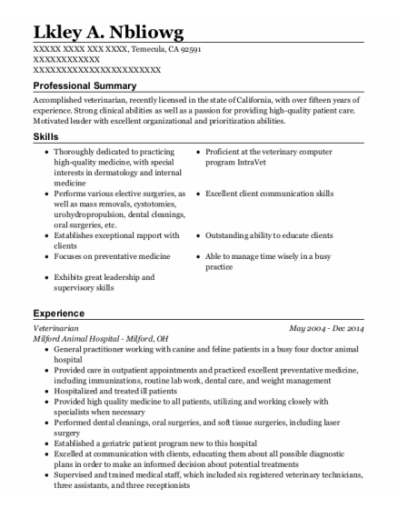 Veterinarian resume example California